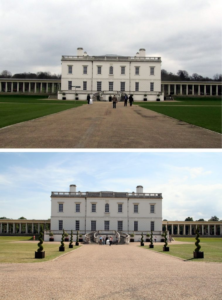 Before and after shot of the hired topiary spirals dress the entrance to Queen's House, Greenwich