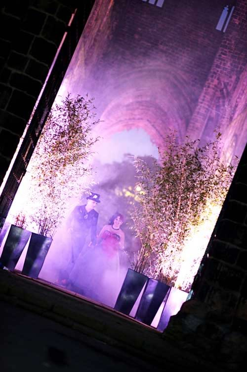 Bamboo, LED lighting, smoke machines hired to produce a theatrical entrance.