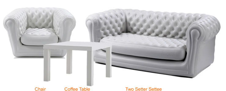 Chesterfield Settee, Chair and Coffee table (White)