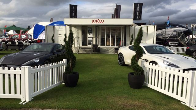 Topiary spirals hired to dress the JCT600 exhibition stand