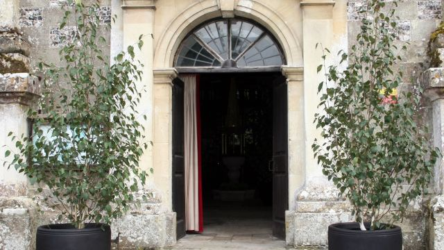 A pair of multi-stemmed Birch trees hired to frame a church doorway.
