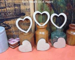 Hire props 5cm lazer cut heart in a heart