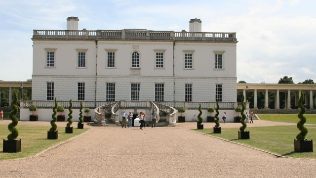 The Queen's House Greenwich hire topiary spirals to dress the entrance