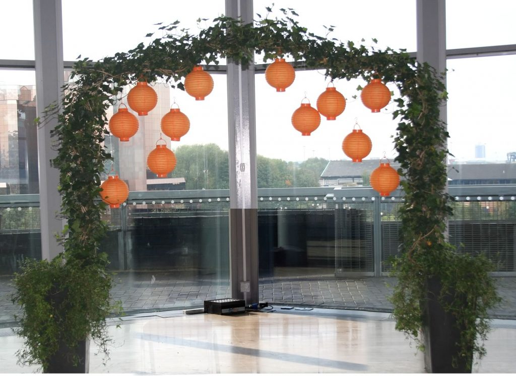A decorated wedding arch