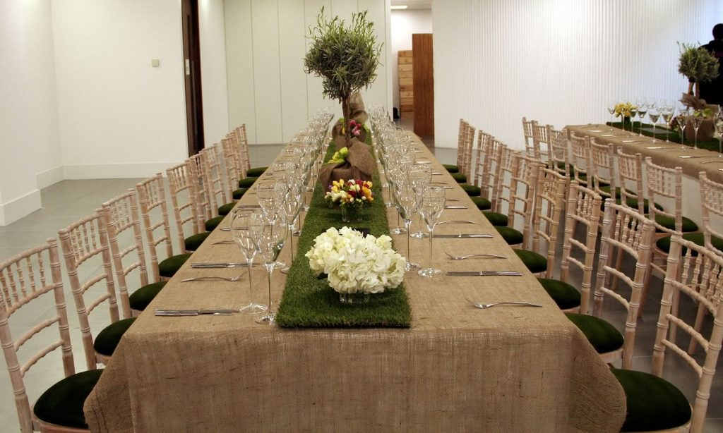 Hire table runners made from artificial grass and style your event
