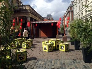 Using bamboos and various props to create a Chinese garden @ Convent Garden London
