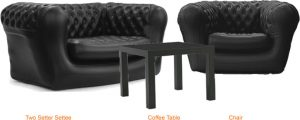 chesterfield two seater settee with matching chair and coffee table in black