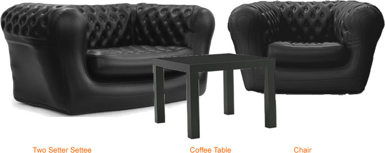Hire furniture featuring Black Chesterfield settee & chair with matching occasional table.