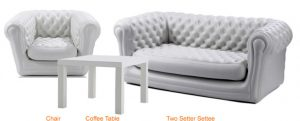 chesterfield two seater settee with matching chair and coffee table in white
